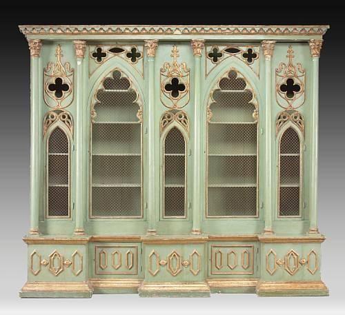 Italian Gothic Revival Cabinet Bookcase, C.