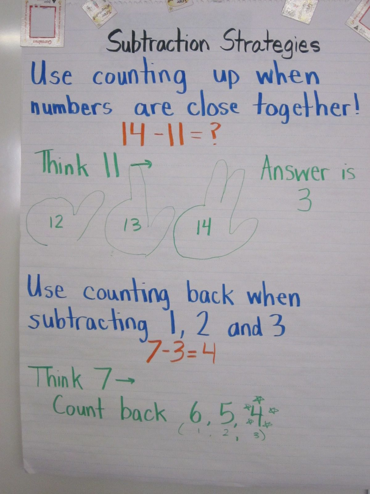 Counting Up And Counting Back Subtraction Strategies
