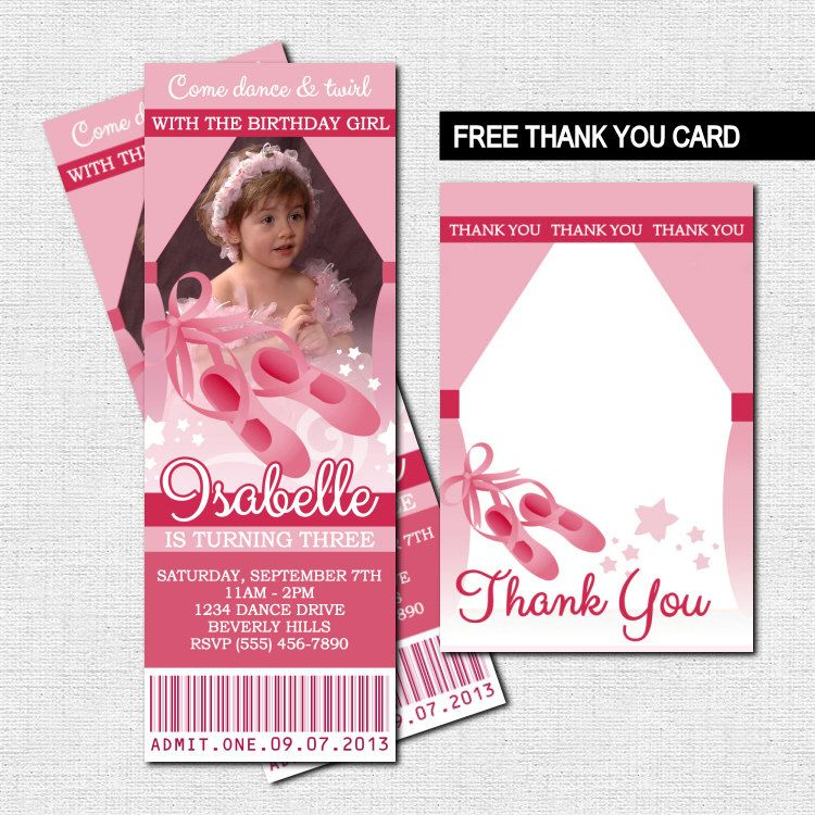 BALLET TICKET INVITATIONS Ballerina Birthday Party by nowanorris