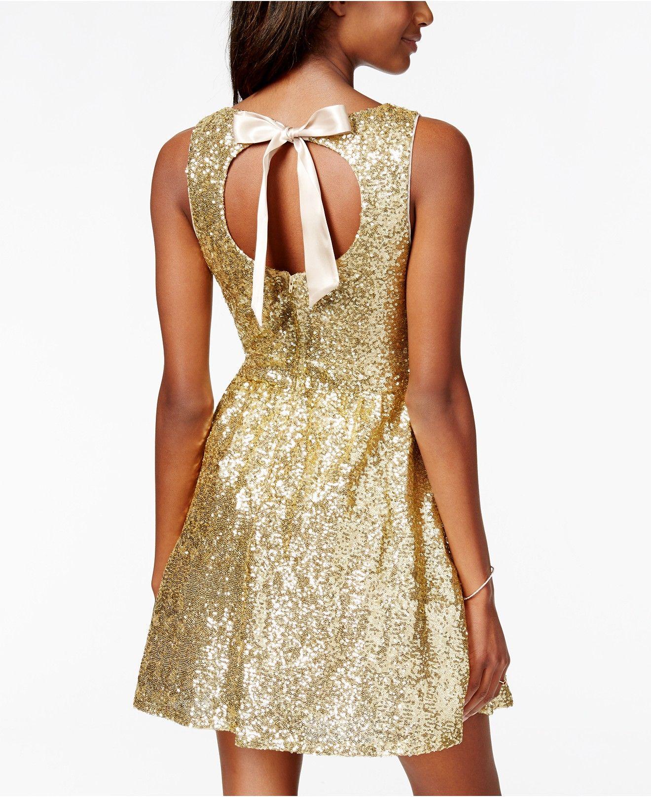 ae37b32178 B Darlin Juniors  Sequin Bow-Back Fit-and-Flare Dress - Juniors Dresses -  Macy s