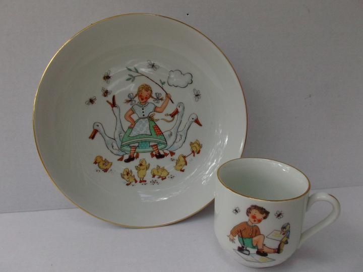 This Is A Carl Schumann Arzberg Germany Porcelain Childs Cup And Bowl Set Bowl Measures 8 Inches Childrens Pottery Dinnerware Tableware Vintage Porcelain
