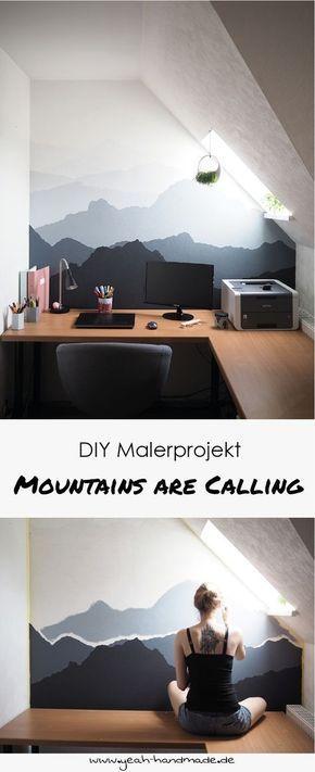Diy Malerprojekt Mountains Are Calling Yeah Handmade Wand Malen Handmade Home Schlafzimmer Diy