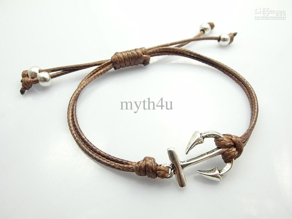 Fashion Jewelry Anchor Charm Wax Cord Bracelet Bijouterie For Women