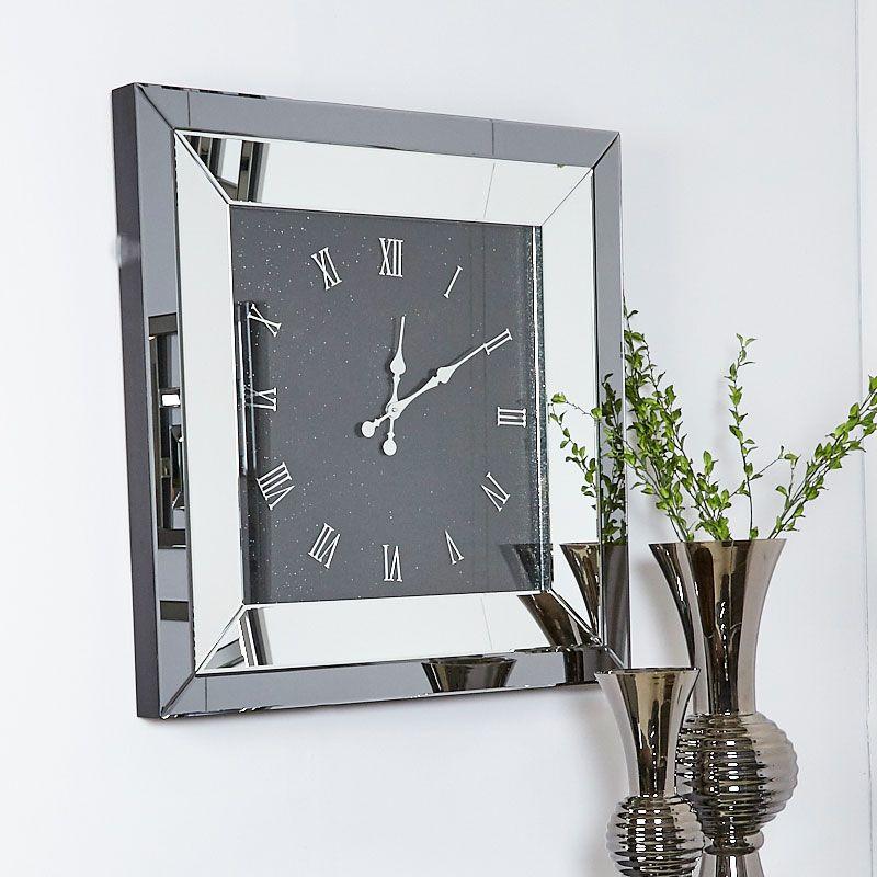 Large Smoked Glass Mirrored Square Wall Clock 90 X 90cm Roman Numerals Espejos En La Sala Candelabros De Pared Espejos Decorativos