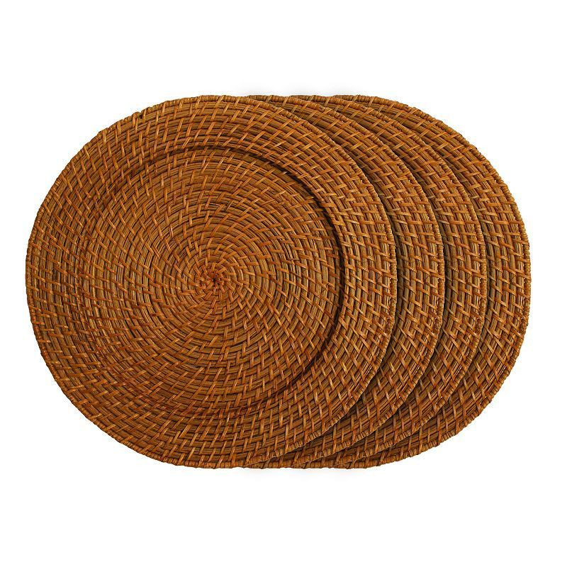 Charge It By Jay 4-pc. Round Rattan Charger Plate Set, Brown