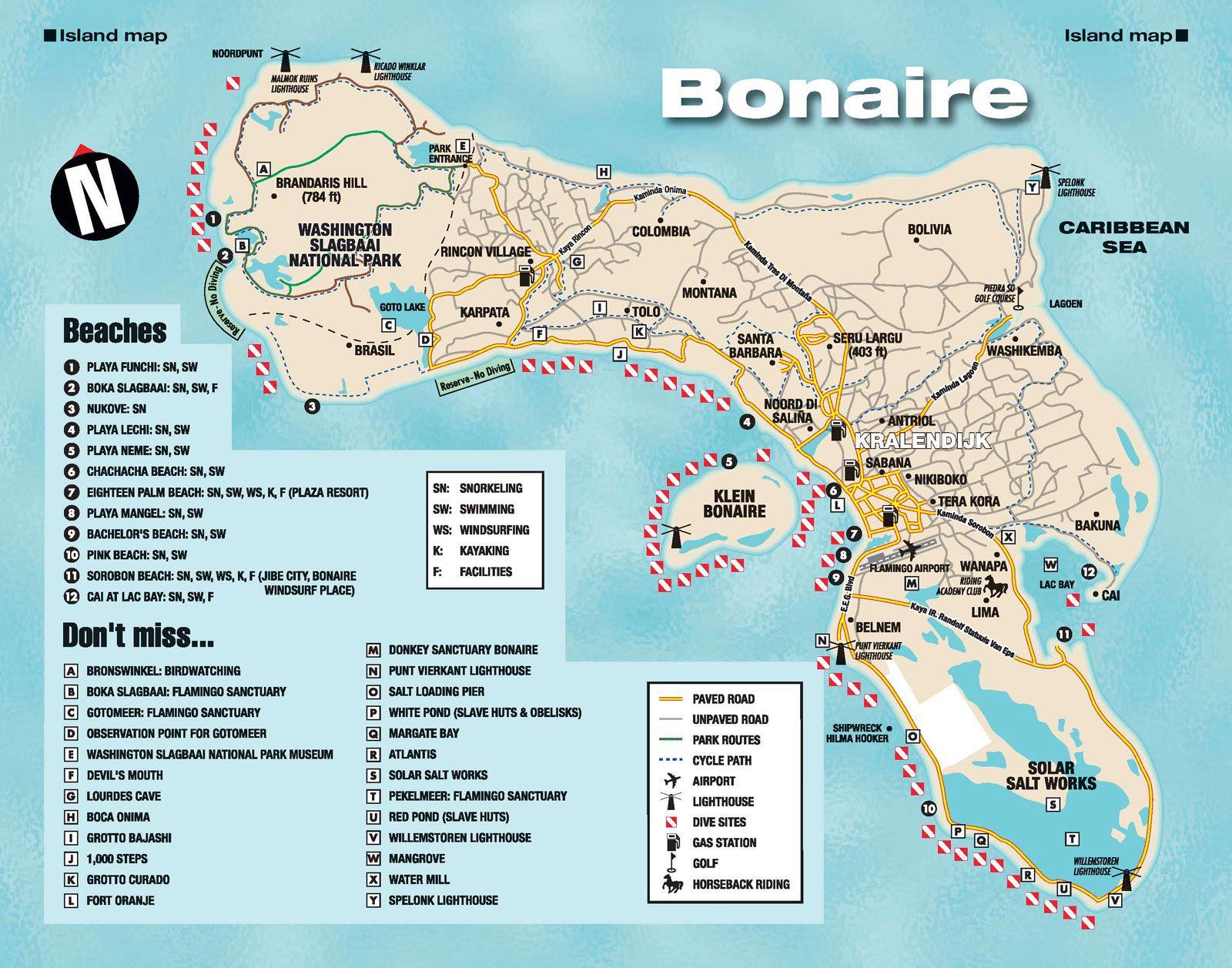 Bonaire Island Map Reisen Urlaub