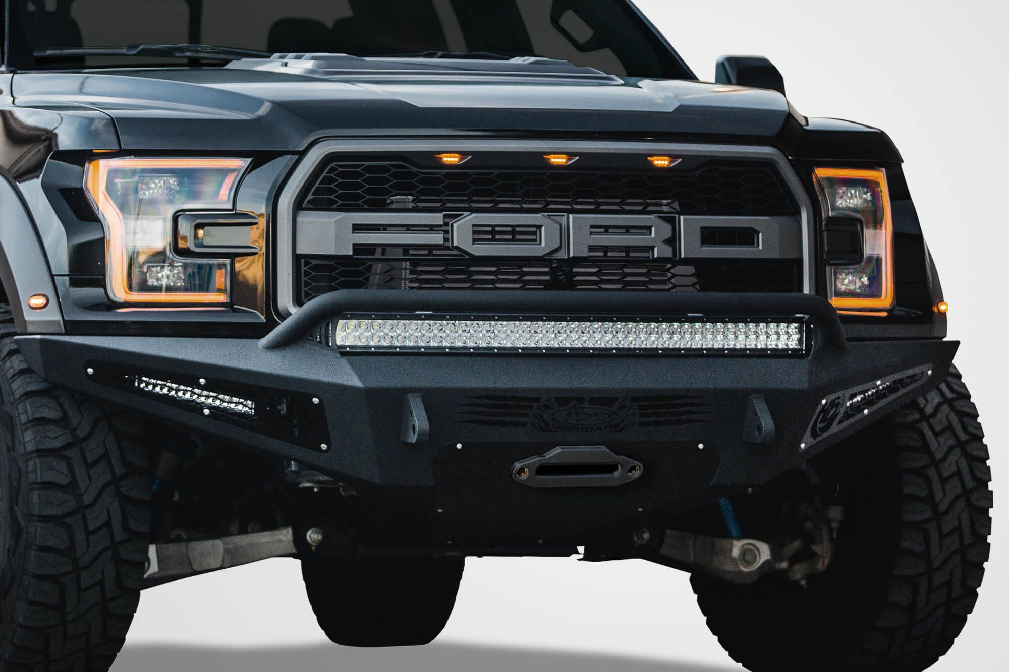2017 ford raptor honeybadger winch front bumper