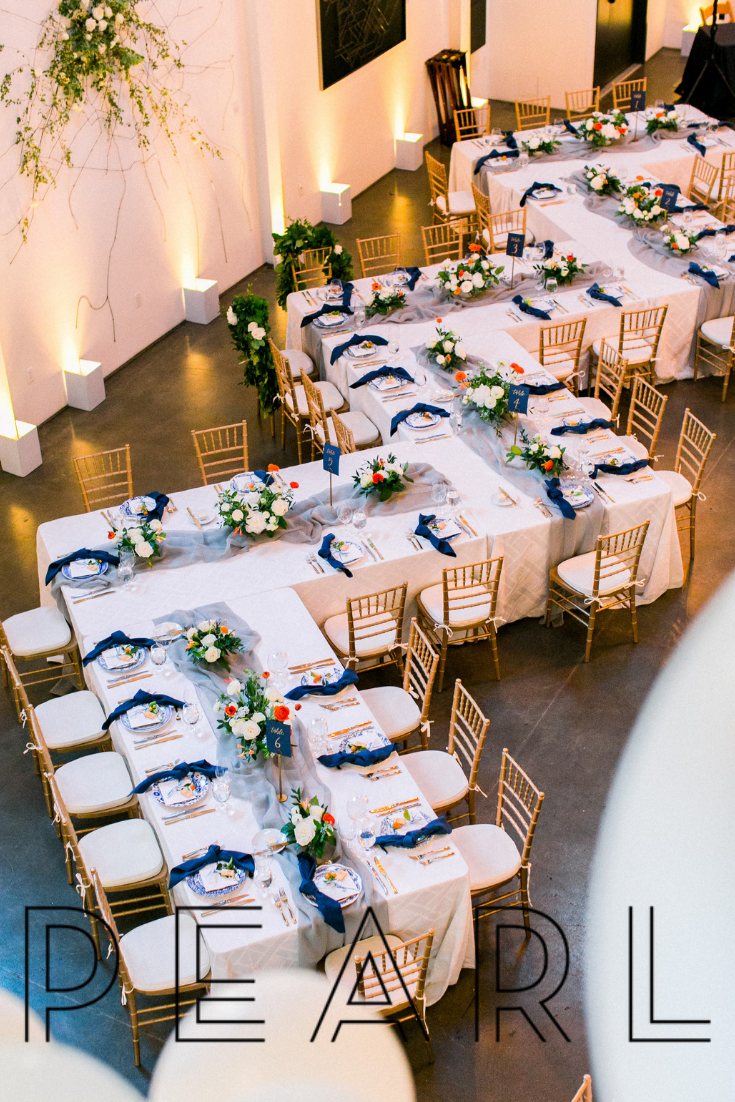 Inspiration for a unique zig zag wedding reception and corporate event table formation.  The Pearl is a flexible-use event space where art, nature, and the industrial history of San Francisco's Dogpatch neighborhood come together.  #thepearlsf #weddingreceptiondecor #weddingreception #tablescapes #tablesetup