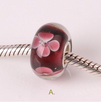 Pink Flower Murano Lampwork Glass Beads 925 Silver Charm Sale fit Pandora Bracelet C1qGE0OLDj