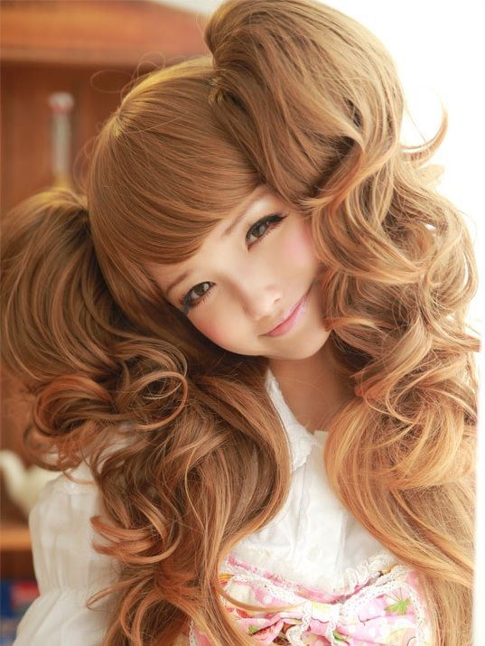 .Big (huge!) pigtail curls can be achieved with a wig and