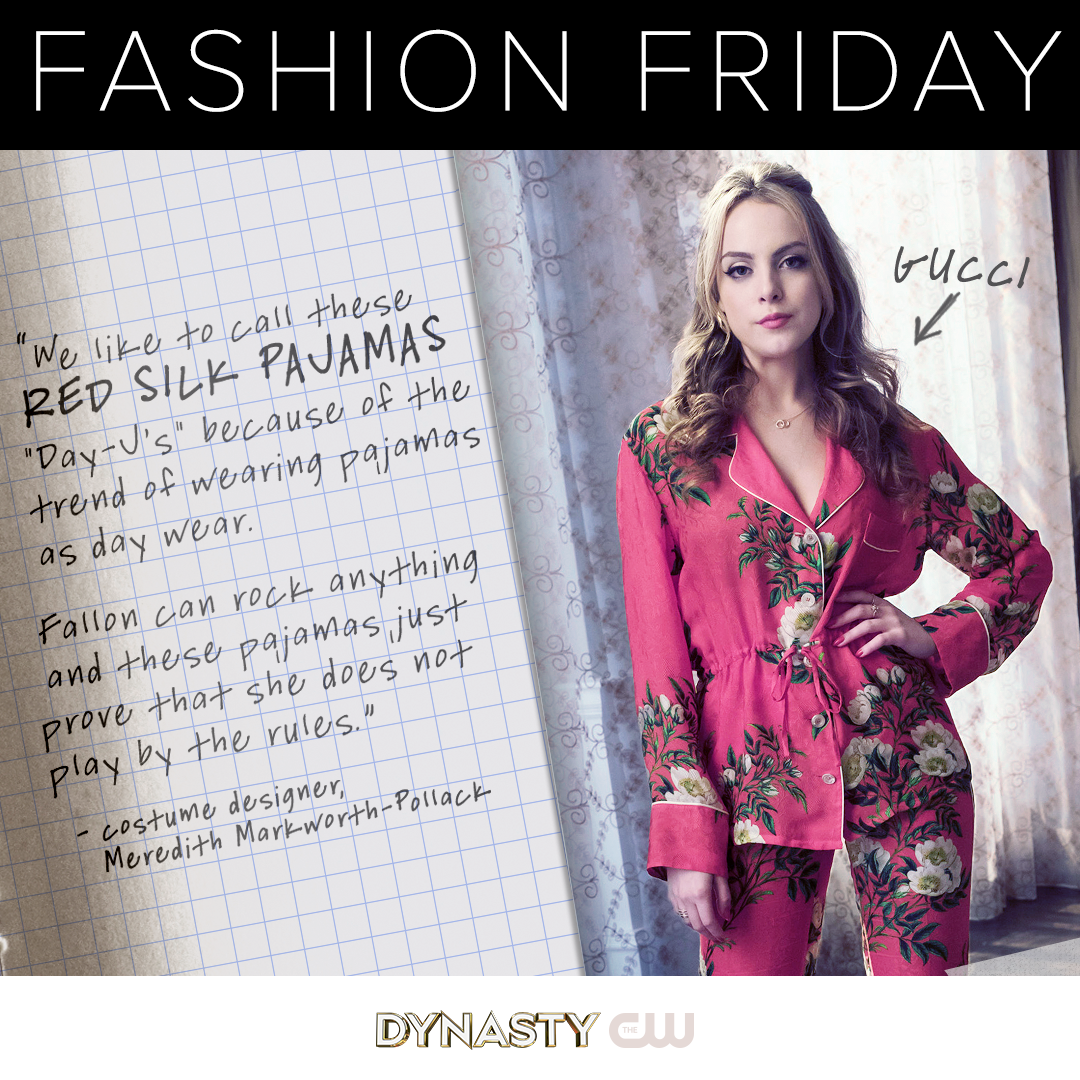 Fallon Is Wearing Red Silk Floral Pajamas By Gucci We Like To Call These Day J S Because Of The Trend Of Wearing Paj Fashion Friday Fashion Tv Show Outfits