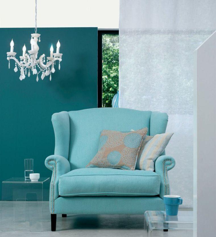 Déco salon bleu canard : peinture, mobilier et accessoires ...