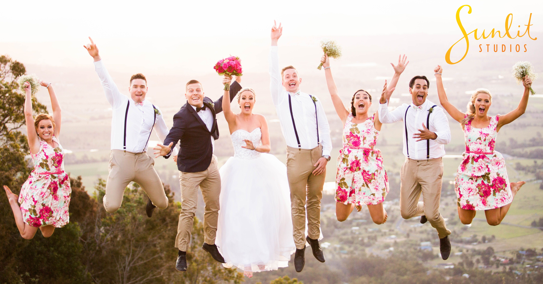 Fun bridal party shot! Cedar Creek Estate, North Tamborine Wedding by Gold Coast Wedding Photographers Sunlit Studios