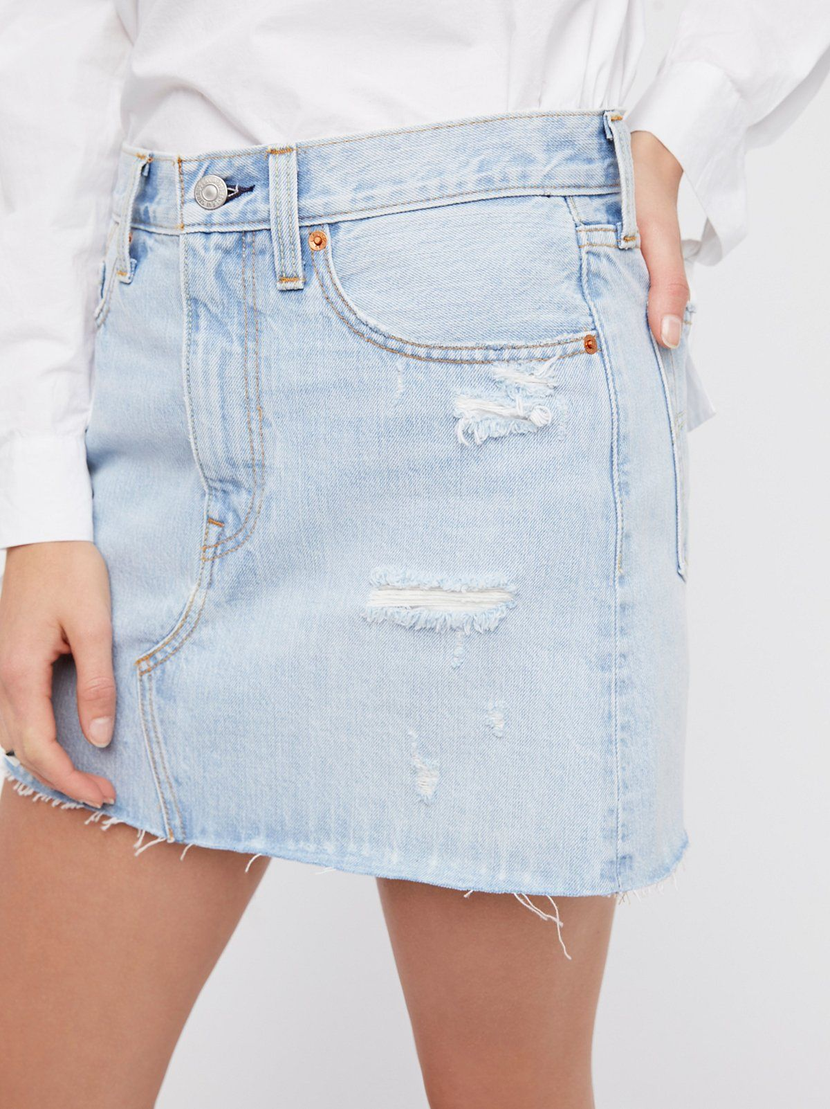 6908c1bd63 Levi's Live wire Deconstructed Denim Skirt at Free People Clothing Boutique