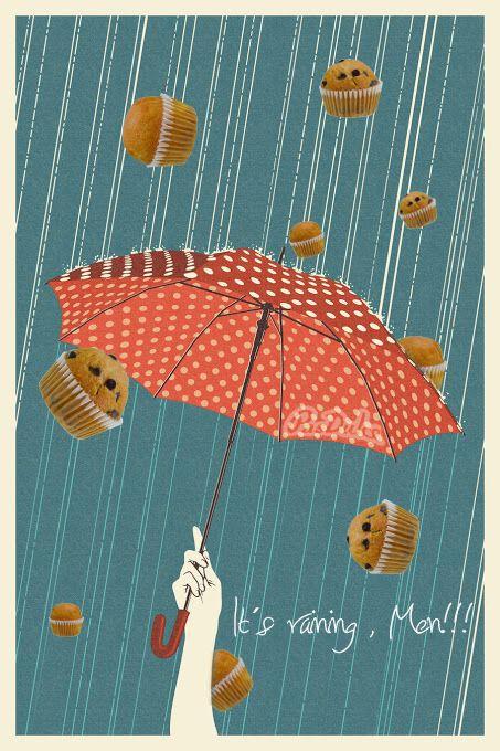 Está lloviendo. Lluvia + Mini Magdalenas = Felicidad :-)