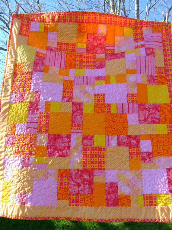 Orange and pink quilt
