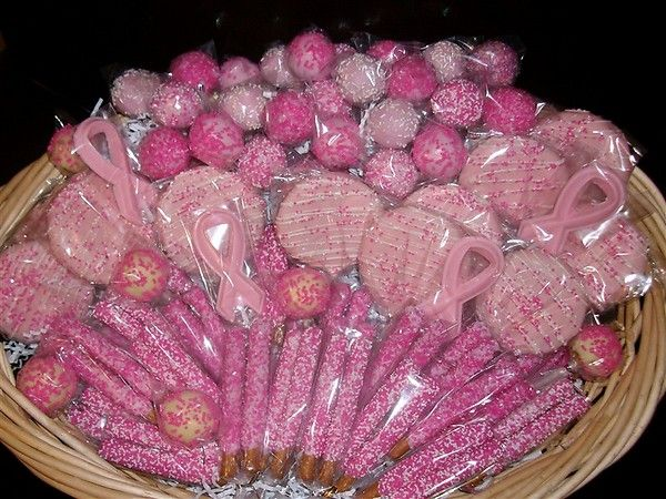 Breast Cancer Awareness Cake Pops Cookies Pretzels White