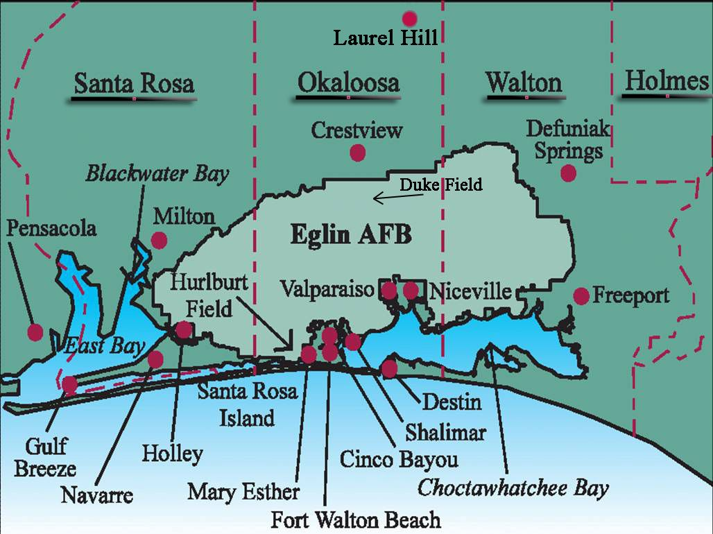 Hurlburt Field AFB FL and surrounding cities in Okaloosa County