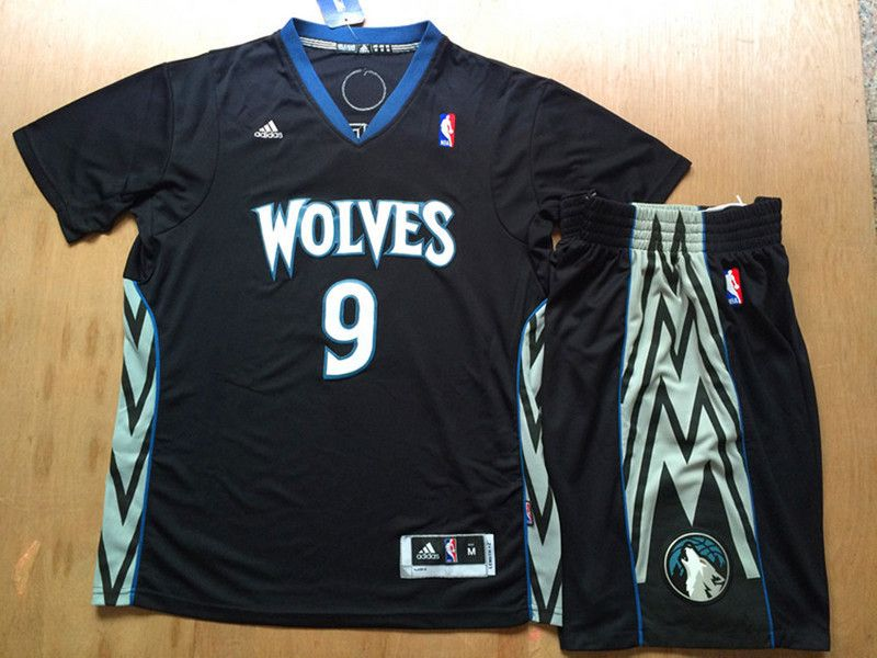 Minnesota Timberwolves  9 Ricky Rubio Black Men 2017 New Logo NBA Adidas  T-Shirts Suits a9c47344d