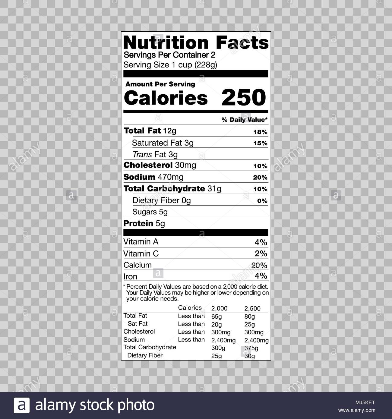 Nutrition Facts Information Template For Food Label Stock