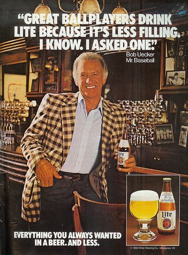 Beer In Ads #222: Bob Uecker, Mr. Baseball | Beer ad, Lite beer, Beer