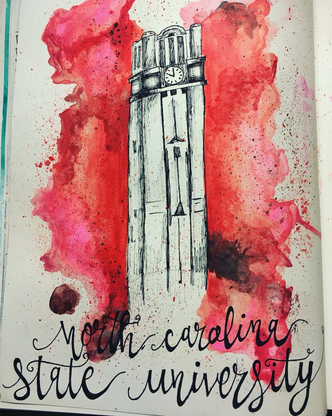 North Carolina state university Nc state college watercolor art