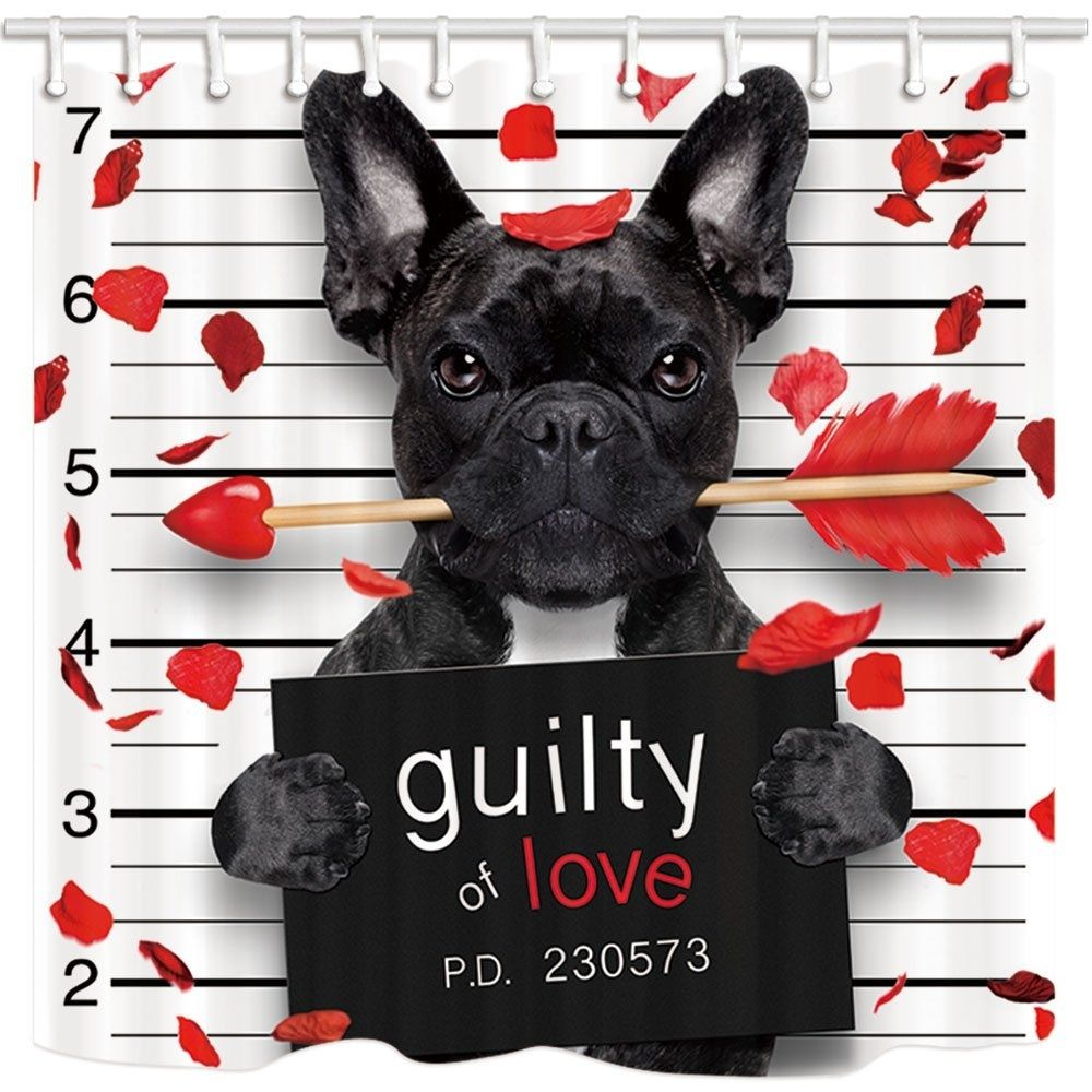 Valentine Day Bulldog Dog With Cupid S Arrow Roseleaf Guilty Of Love Bathroom Shower Curtain 66x72 Inch Happy Valentines Day Pictures Valentines Day Memes Valentines Day Poems