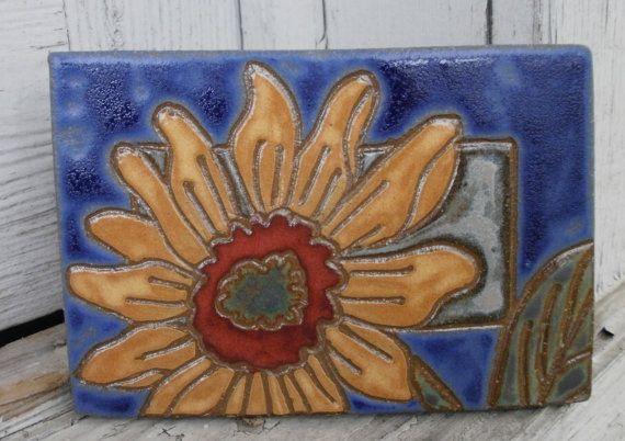 Golden sunflower Tile or Trivet by snowhilltileworks on Etsy, $32.00