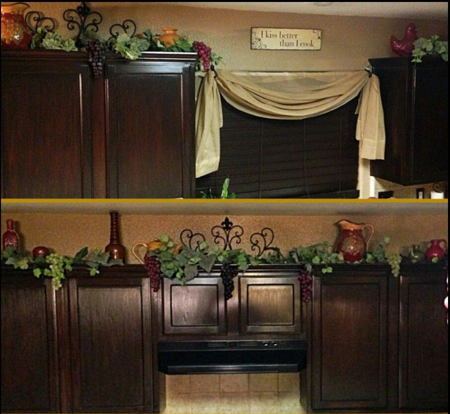 Charming Themes For Kitchen Decor Ideas Part - 7: Vine For Cabinets. Wine Theme Ideas For My Kitchen