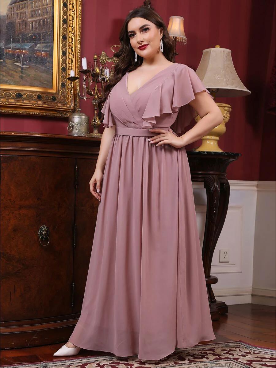 Plus Solid Butterfly Sleeve Maxi Dress Shein Usa Maxi Dress With Sleeves Maxi Dress Plus Size Maxi Dresses [ 1198 x 900 Pixel ]