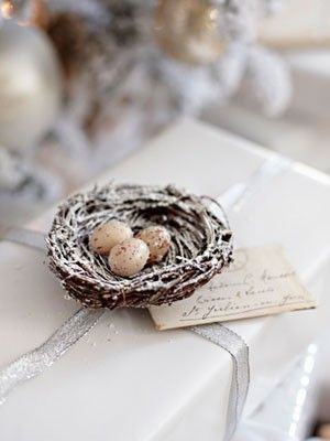 Gift wrapping idea add a nest and eggs to the top of a simply gift wrapping idea add a nest and eggs to the top of a simply wrapped negle Image collections