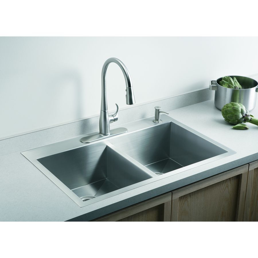 Shop KOHLER Vault 22-in x 33-in Double-Basin Stainless Steel Drop-In 4-Hole Commercial Kitchen Sink at Lowes.com