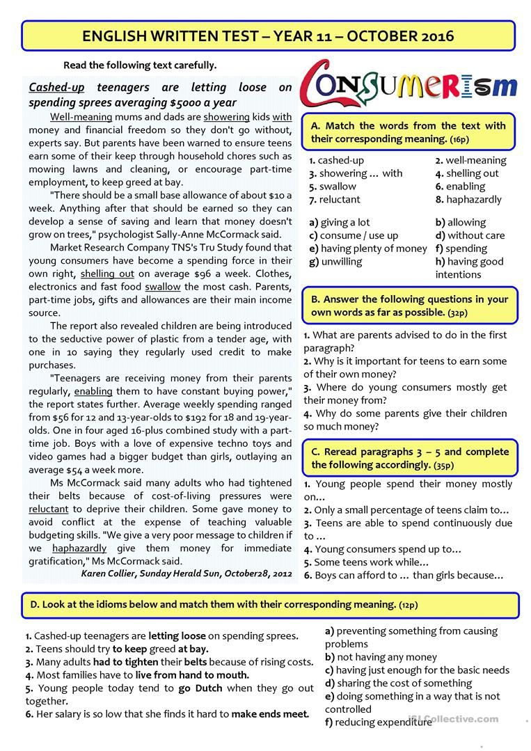 Worksheets 11th Grade Reading Comprehension Worksheets teen spending 11th grade test on consumerism it includes several tasks reading comprehension vocabulary grammar writing and listening