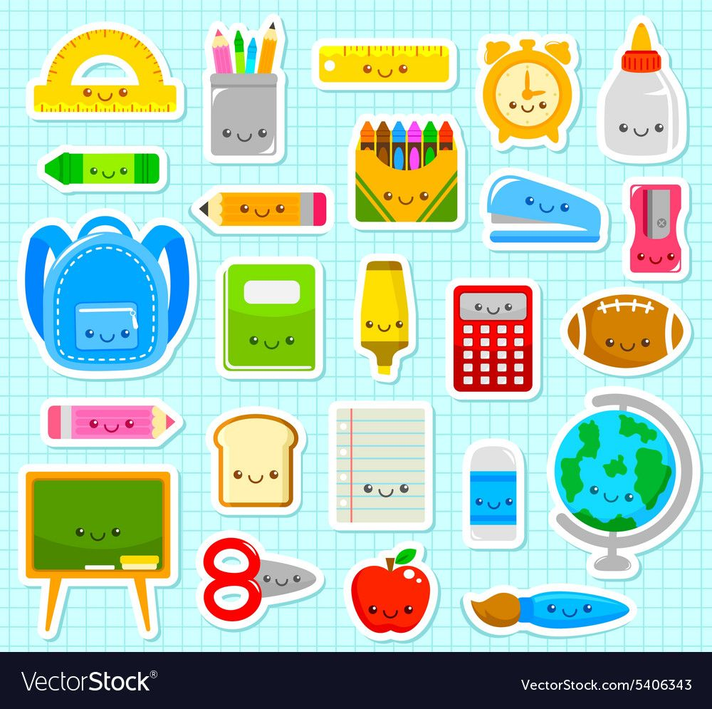 Collection Of Cute Cartoon School Supply Items Download A Free Preview Or High Quality Adobe Illus Cute School Supplies Kawaii School Supplies School Supplies