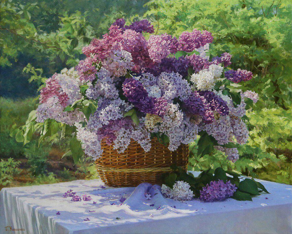 Basket of lilacs by Gennadiy Kirichenko