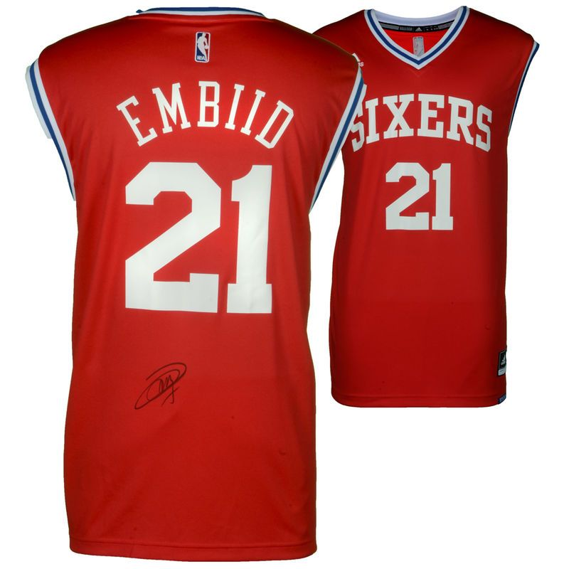 8d9c00c7ecd ... coupon code joel embiid philadelphia 76ers fanatics authentic  autographed red adidas replica jersey 7c618 ee11c