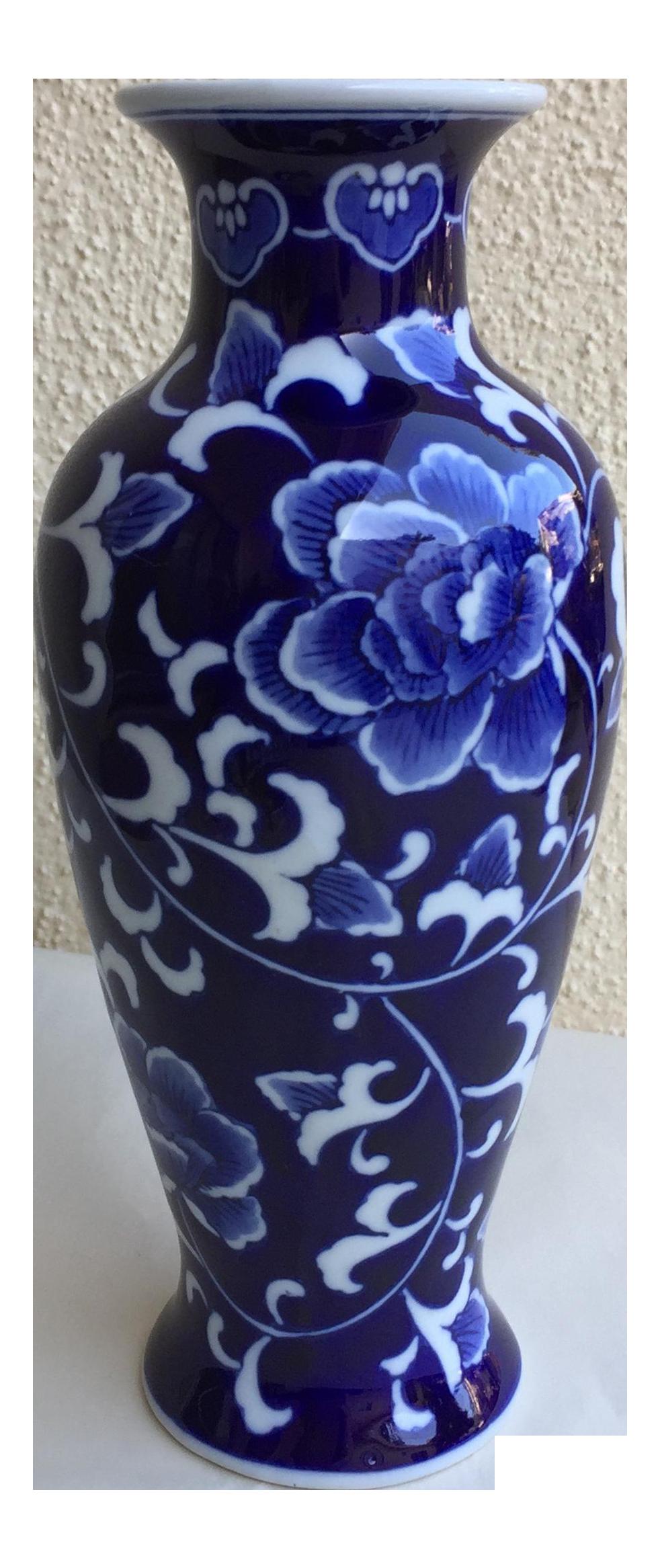 Asian Blue White Lotus Flower Vase Delicious Decor Doodads