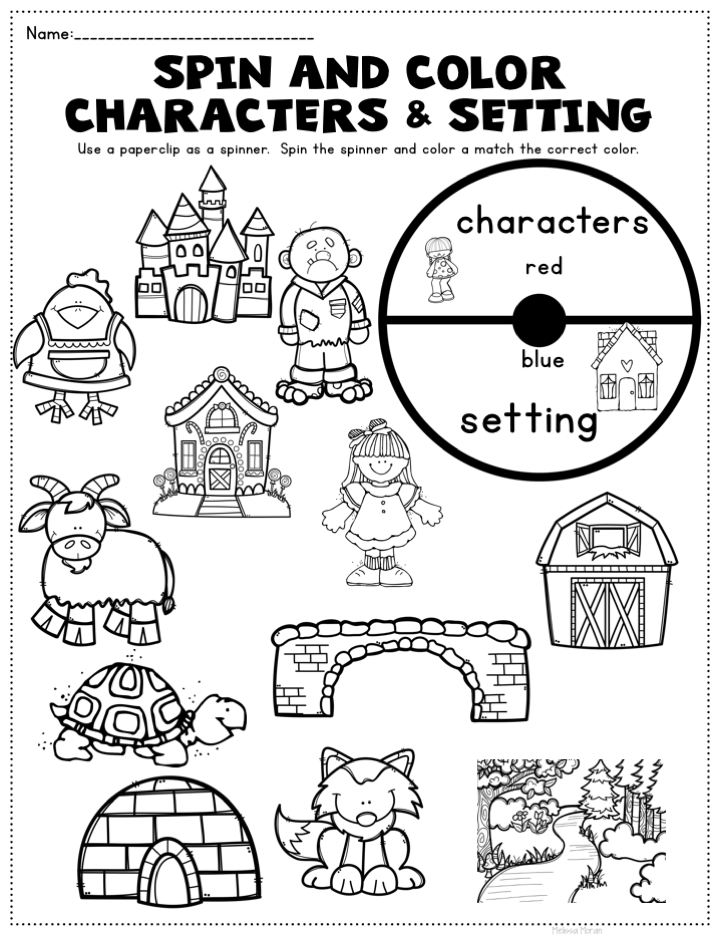 Characters and Setting Sort Kindergarten Reading