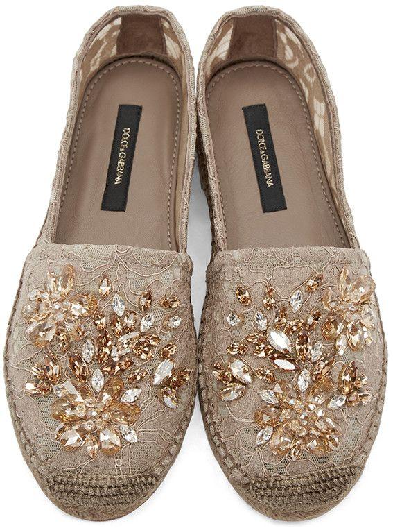 acc939e1925daa Dolce   Gabbana - Tan Lace Embellished Espadrilles