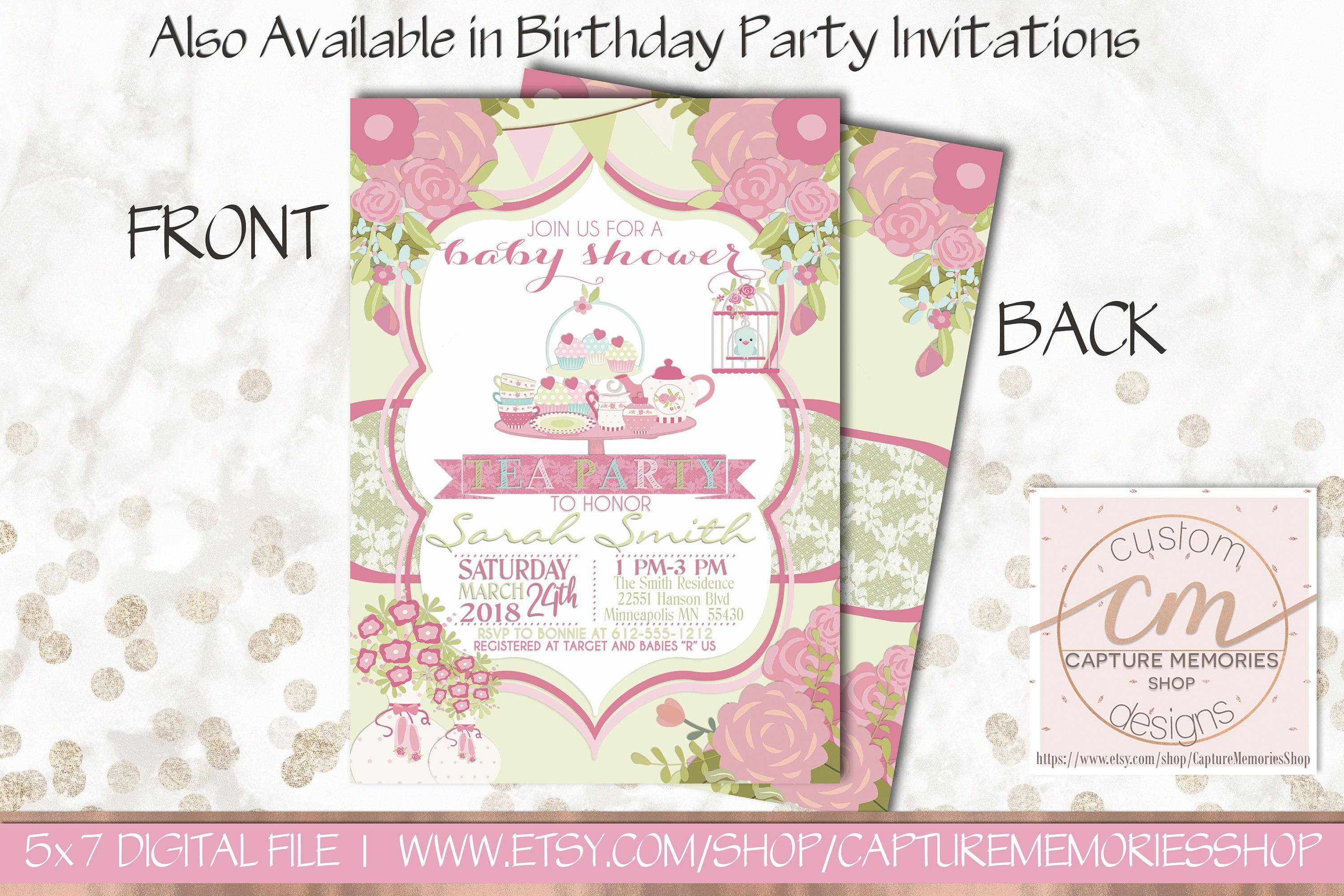 Tea Party Shower Invitation|Girl Baby Shower Invitation|Tea Party ...