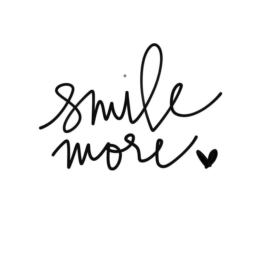 smile more worry less monochromatic calligraphy