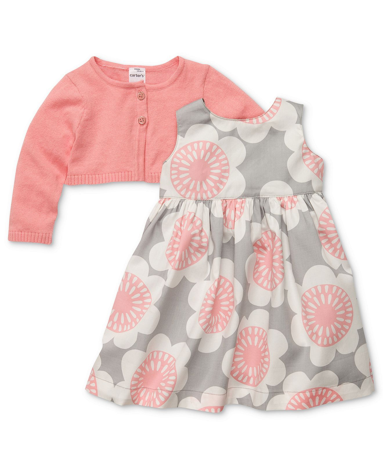 Carter s Baby Set Baby Girls 2 Piece Printed Dress and Cardigan Set