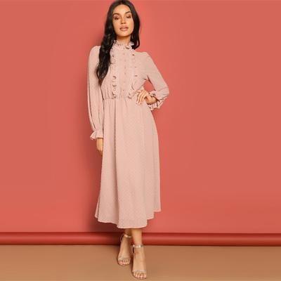 SHEIN Pink Frill and Lace Trim Half Placket Dot Jacquard Stand Collar Dress  Autumn Women Long Sleeve Solid Arabian Dresses f8f7df3d3b7f