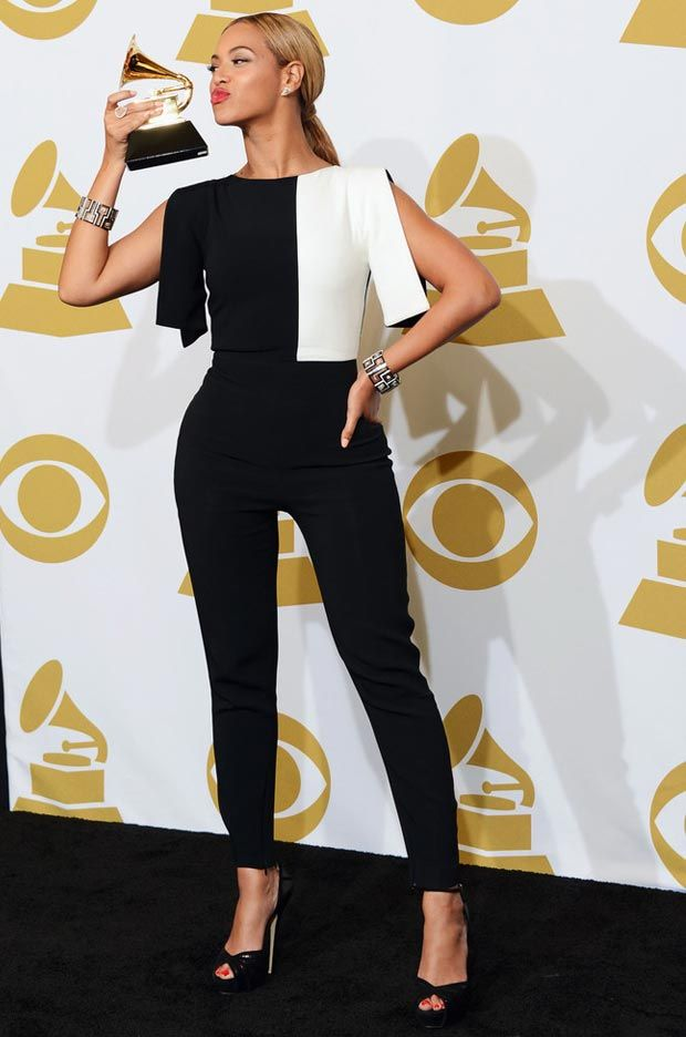 ab7355456d87 Beyonce 2013 Grammy winner black and white jumpsuit