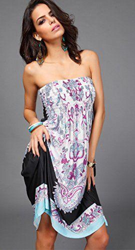 8faba3edb8 Shawhuaa Womens Sexy Vintage Strapless Summer Sun Dress Beachwear Medium  Black