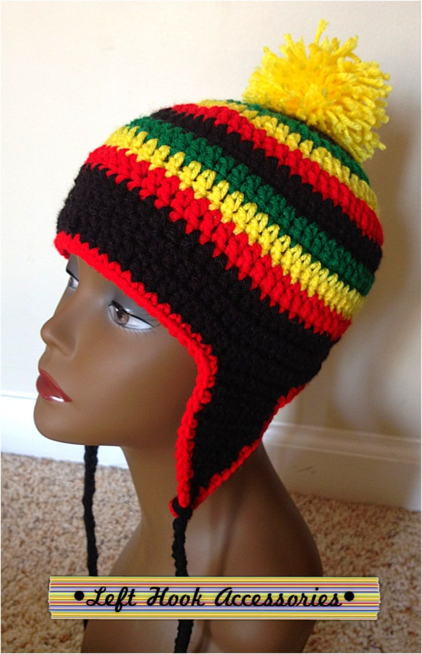 Rasta ear flap hat with Pom Pom by Left Hook Accessories. www ...