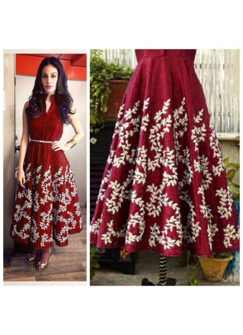 0bccd876d34cd4 Maroon raw silk plain semi stitched kurti