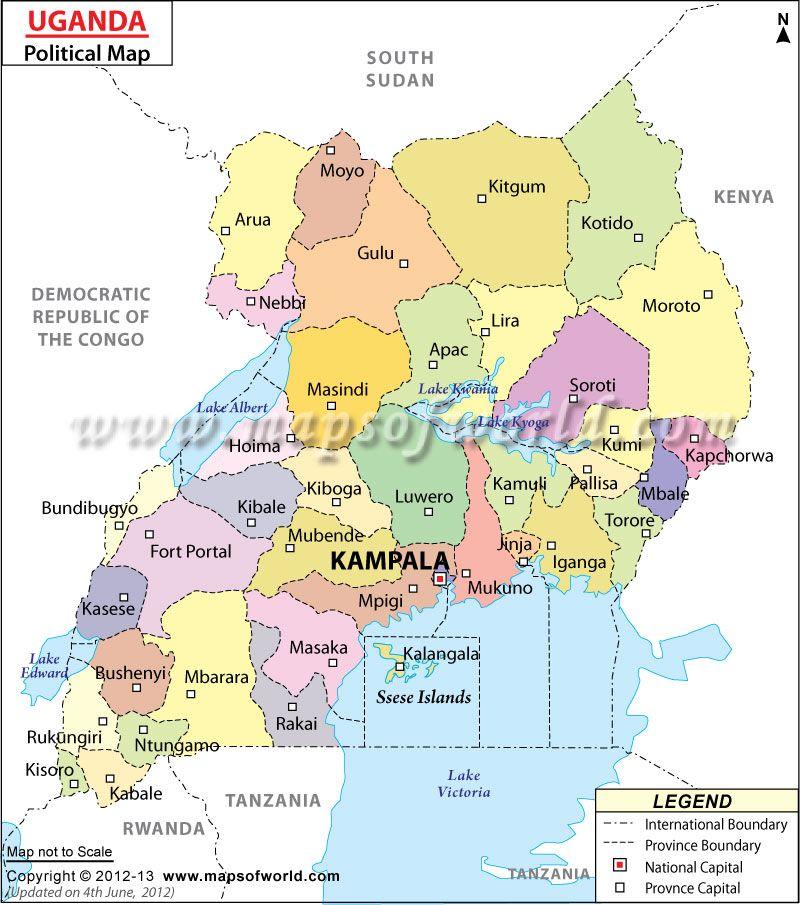 Political Map of Uganda  MISSIONS  Pinterest  Uganda and Uganda