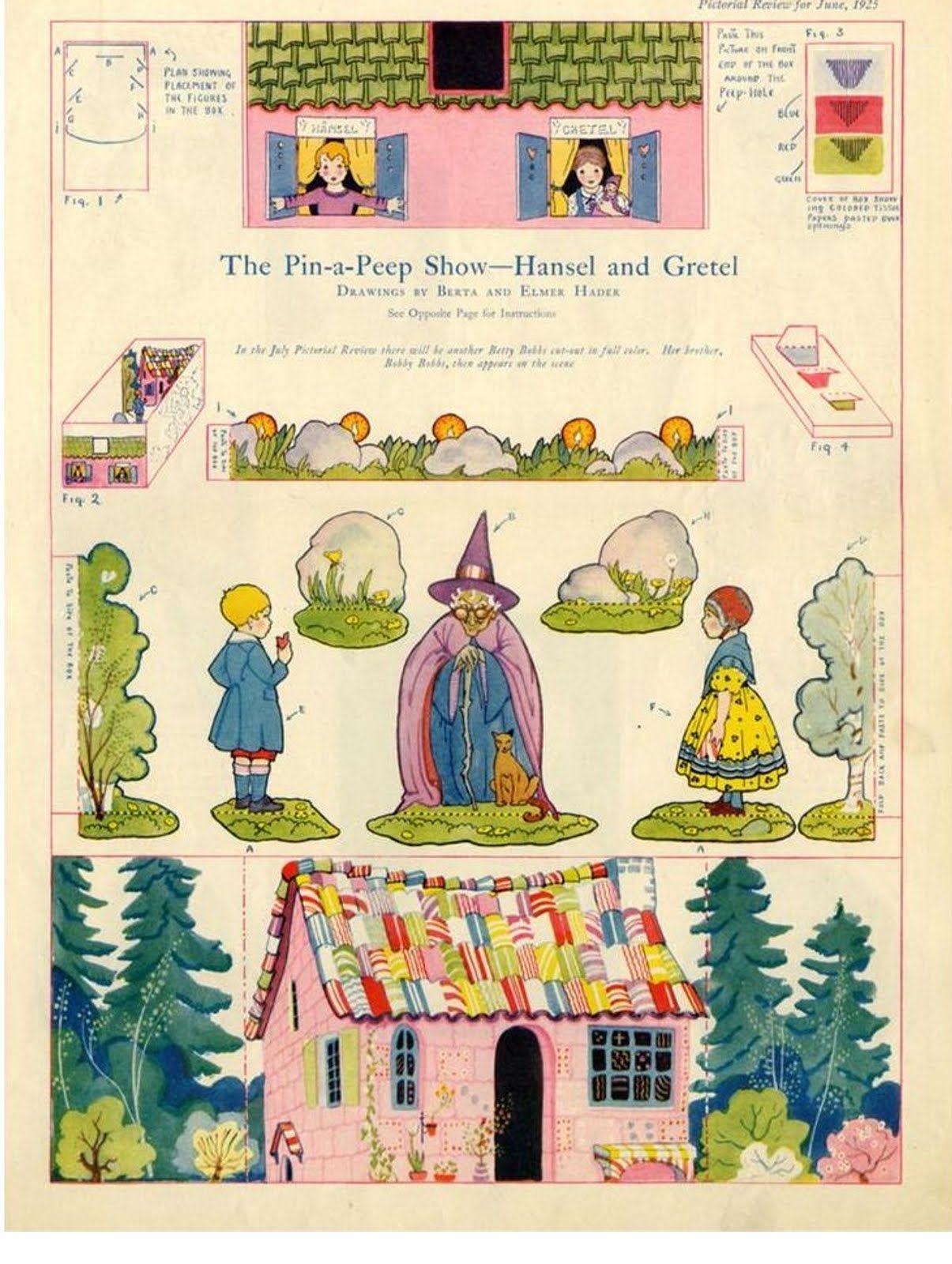 """- 圖像詳細資料Hansel and Gretel, peep show cut-out from """"Pictorial Review"""" June 1925 ..."""