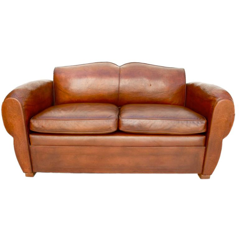 Antique French 1920 Leather Club Sofa